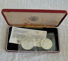 More details for iceland 1974 settlement silver proof 2 coin set  - sealed/coa/boxed