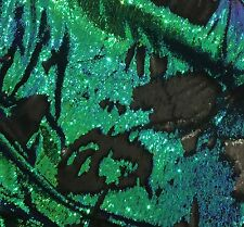 "GREEN BLUE BLACK MERMAID REVERSIBLE 2WAY STRETCH SEQUINS FABRIC 50"" WIDE 1 YARD"