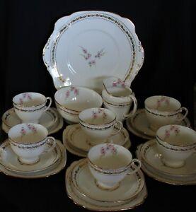 vintage bone china tea set ROYAL STANDARD white gold trim small pink flowers 21p