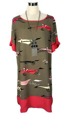 LEONA EDMISTON Dress - Horse Racing Jockey Print Olive Coral Tunic Shift Zip 10
