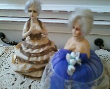 Lot Of 2 Beautiful Vtg-Antique French/German Boudoir 1/2 Doll Pin Cushions+Gift