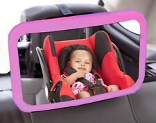CAR PINK BABY MIRROR adjustable WIDE rear headrest fitting rear facing seat safe