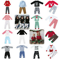 2pcs Christmas Boys Girls Infant Baby Kids Tops + Pants Clothes Set Outfits Xmas