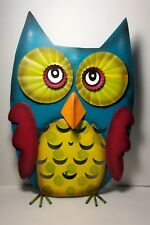 "Owl Metal Tealight Candle Holder 15"" H x 10"" W Hand Painted Tabletop"