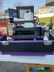 Younique Selfie Trunk Makeup Case with ring light and strap. Purple/Black. New!