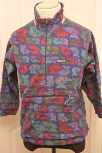 VINTAGE MADE IN USA PATAGONIA 1/2 ZIP AZTEC BLUE FLEECE KIDS 14 / ADULT SMALL -M