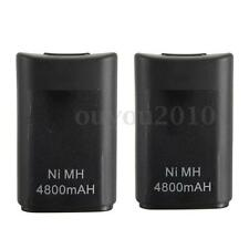 2 PCS 4800mAh Rechargeable Battery For Xbox 360 Wireless Remote Controller Black