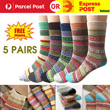 Pack of 5 Women Soft Cotton Socks Vintage Style Thick Wool Warm Winter Crew Sock