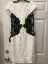 NWT Tadashi Ivory/black Cocktail Dress, Sz 10