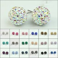 Wholesale Sparkle Czech Crystal Round Disco Ball Silver Stud Earrings 10mm 12mm