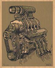 "MINT & SIGNED EMEK ""Engine"" (QOTSA 2005 Detroit) WOOD VARIANT Handbill 8/20"