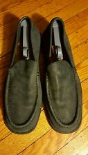 GIORGIO BRUTINI MEN BLACK GRAYISH SUEDE LOAFERS DRIVING SHOES PRE-OWNED 11.5