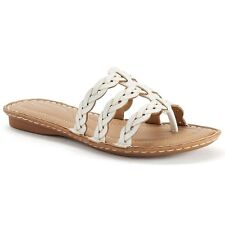 SONOMA Women's Braided White Thong Sandals, 7.5 Med, FREE S&H, New in Box, $45