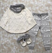Janie Jack Baby Girl 3 Fur Knit Set Winter Pants Cape Poncho Sweater Fair Isle