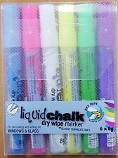 Texta Liquid Chalk Dry Wipe Markers 6 x 8g Pk