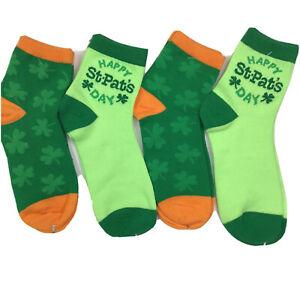 Lot Of 4 Pairs Socks Happy St. Patricks Day Lucky Green Novelty Womens Size 9-11