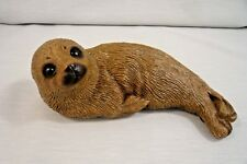 VTG '86 SIGNED SANDICAST BABY SEAL-Glass Eyes-Great Detail-3 x 7.5 x 3""