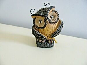 "WILCOR WOODSY OWL ON LOG FIGURINE - 4 1/2"" TALL - ADORABLE"