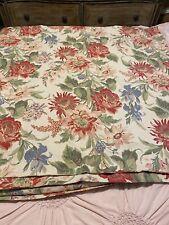 Pottery Barn Marla Cotton/linen Floral Tan Red Green Queen Duvet Cover 88x92
