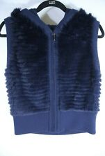 NEW Dyed Real Rabbit Fur Vest in Blue - size XS #NA133