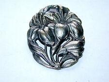 Antique Victorian Art Nouveau Silver Reppouse' Flowers Pin/Broach