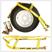 Two (2x) Yellow Demco Kar Kaddy Tow Dolly Straps Rugged Weave w/Hook &2 Ratchets