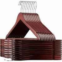 Wooden Hangers Smooth Solid Wood Coat Hanger with 360° Cherry Wood finish