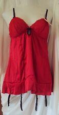 Affinitas Sasha Chemise Red matching panty& stockings Set Style 639 Size X-Large