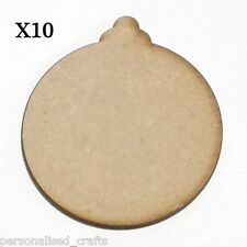 X10 Wooden MDF Christmas Xmas Bauble Shape Plaque & Card Making 80mm High
