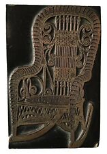 Vintage Copper Plate Rocking Chair Wood Block Letterpress Stamp