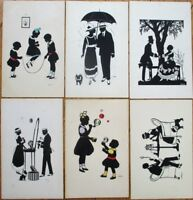 Trebicky/Artist-Signed 1920s Silhouette Postcards-SIX DIFFERENT- Couple/Children