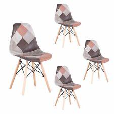 Pack de 4 Sillas de comedor Patchwork Sillas diseño nórdico retro estilo Marrón
