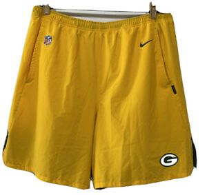 Nike Mens NFL Green Bay Packers Athletic On-Field Dri-Fit Shorts Sz 3XL Yellow