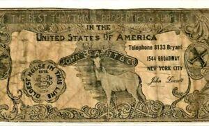 """$10 """"JOHN LEAVITT & CO."""" (UNITED STATES OF AMERICA) 1800 """"NEW YORK"""" """"THEATRICAL"""""""