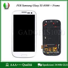 DISPLAY LCD+ VETRO SCHERMO PER SAMSUNG GALAXY S3 i9300 CON FRAME BIANCO