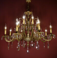 HEAVY OLD BRASS SPANISH CHANDELIER CRYSTAL VINTAGE FIXTURES 16 LIGHT USED LUSTRE