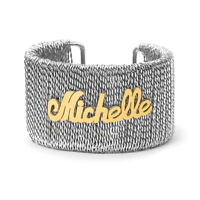 Personalized Stainless steel wire cuff bangle w/ Custom Silver Plated Name