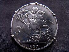 Pièce 1 couronne 1821 argent massif Roi George III montée broche Royaume-Uni