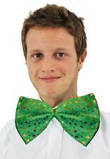 Riese grün Dicky Fliege St Patricks-Tag Irisch Kostüm Gold Kleeblätter 0202