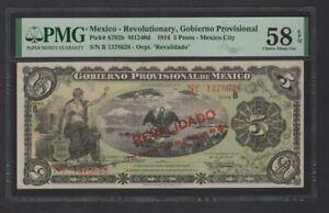 Scarce 1914 Mexico-Revolutionary,Gobierno Provisional 5 Pesos Banknote PMG58 UNC