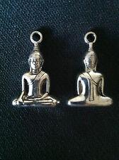 2 x Buddha Charms Tibetan Silver Enlightenment Pose Mudra Bag Pendant Zip Yoga