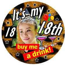 LEOPARD PRINT 18th BIRTHDAY PERSONALISED BADGE, ANY PHOTO OR AGE,77mm / GIFTS