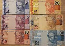 BRAZIL BANK NOTES 6PC SET UNC REAIS ND 2010