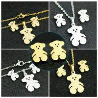 Stainless Steel Bear Pendant Necklace Earring Set Women's Fashion Jewelry