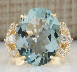 10.52 Carat Natural Aquamarine 14K Yellow Gold Diamond Ring