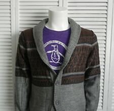 NEW Mens SIZE XXL 2XL ALPACA Gray Shawl Collar Cardigan Sweater Pattern PERU