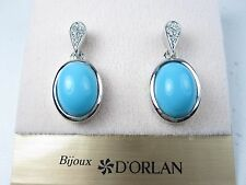 Turquoise Enamel & Swarovski 0841 D'Orlan Rhodium Plated Pierced Earrings with