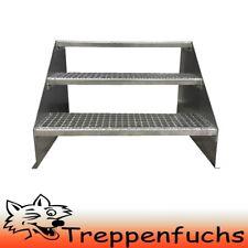 3 Stufen Standtreppe Stahltreppe freistehend Breite 130cm Höhe 63cm verzinkt