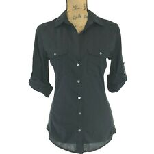 James Perse 3 Shirt Black 3/4 Sl Rib Side Combo Stretch Washable Top Fitted Med