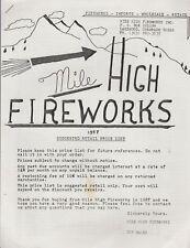 1987 Mile High Fireworks Firecracker Catalog Reprint Lakewood, Co